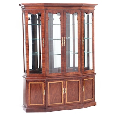 Thomasville Walnut Illuminated China Cabinet, Late 20th Century