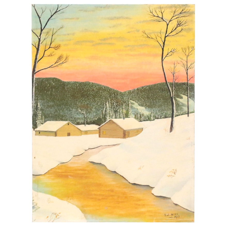 S.J. Hill Landscape Oil Painting of Winter Scene, 1953