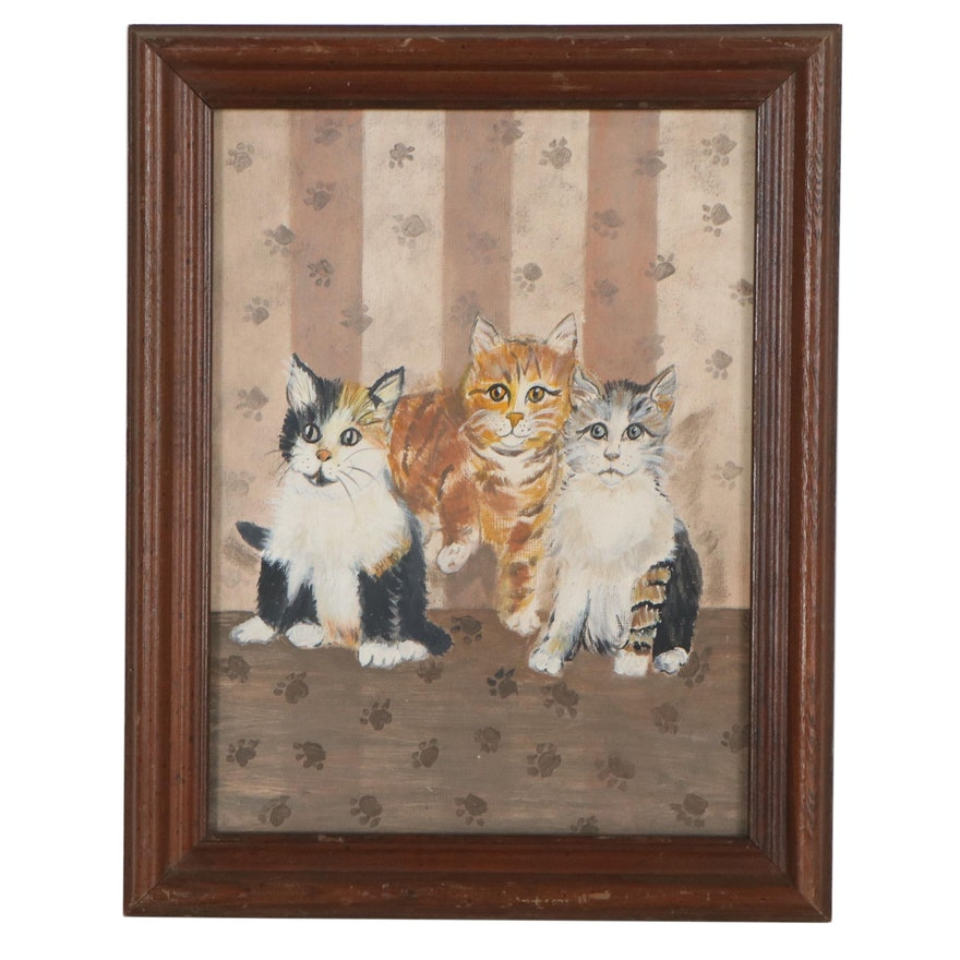 Oil Painting of Three Kittens, Late 20th Century
