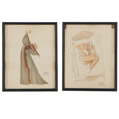 "Pin-Up Offset Lithographs after Alberto Vargas ""January"" and ""September"""