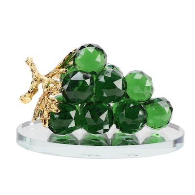 Green Crystal Grape Cluster on Oval Mirror