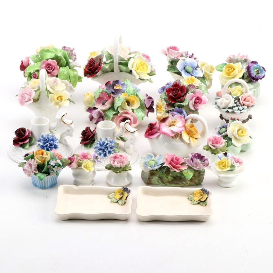 Staffordshire, Aynsley and Other Bone China Flower Form Figurines and Décor