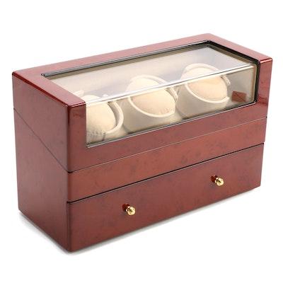 Bey-Berk Triple Watch Winder Display Case with Drawer