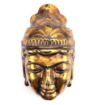 East Asian Gilt Finished Cast Buddha Decorative Mask