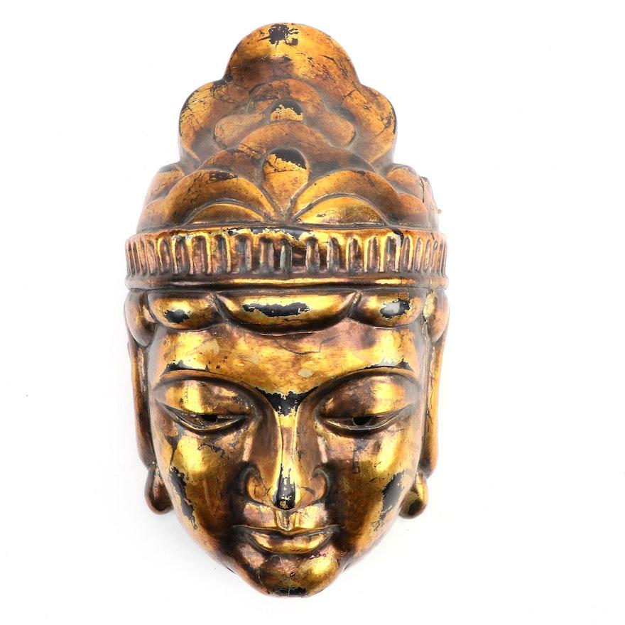 East Asian Gilt Finished Cast Buddha Decorative Mask