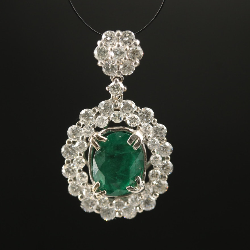 18K 1.44 CT Emerald and 1.32 CTW Diamond Pendant