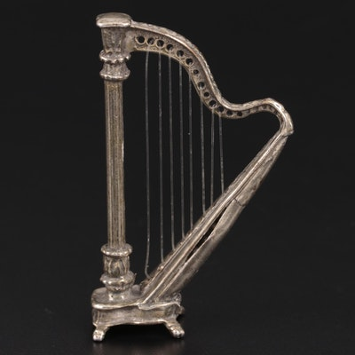 800 Silver Miniature Harp Figurine