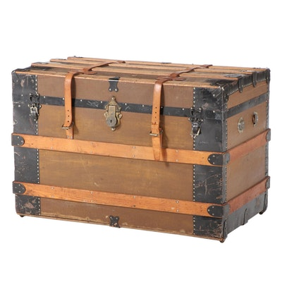 Late Victorian Metal-Bound, Canvas-Lined, and Oak-Slatted Steamer Trunk