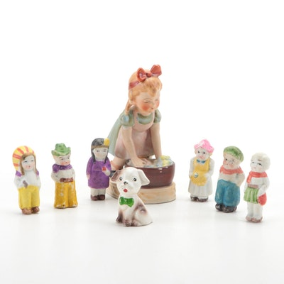 Japanese Wales Porcelain Girl Figurine with Other Porcelain Figurines