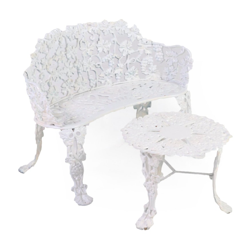 Painted Cast Metal Grape Motif Garden Bench and Table