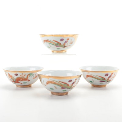 Chinese Gilt Porcelain Rice Bowls with Phoenix and Dragon Motif