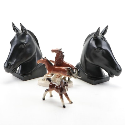 Hyalyn Pottery Horsehead Bookends with Ceramic Horse Figurines