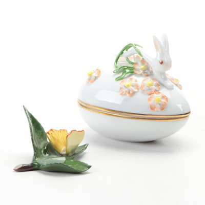 "Herend Rabbit Porcelain Egg Box with Yellow ""Butterfly on Leaf"" Figurine"