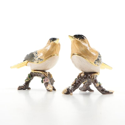 Nobility Enamel and Crystal Embellished American Goldfinch Trinket Boxes