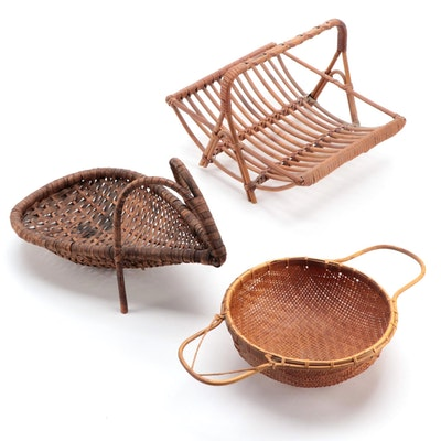 Woven Bamboo Strainer Sieve, Scoop Basket and Top Handle Basket