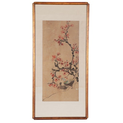 Chinese Gouache Painting of Flowering Tree and Birds