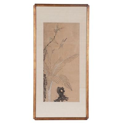East Asian Gouache Painting of Foliage and Birds