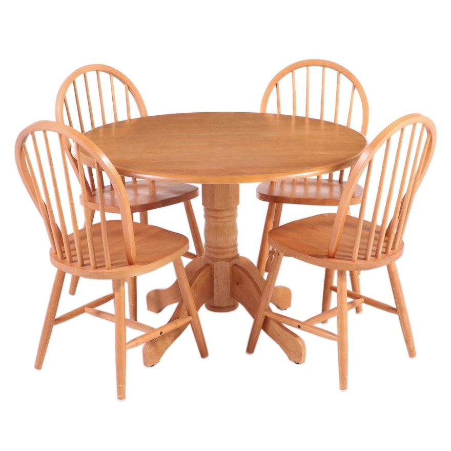 Five-Piece Alder Pedestal Table and Bow-Back Chair Dining Set