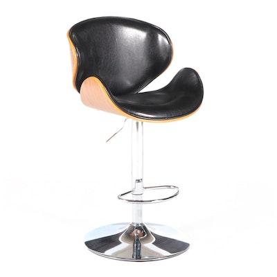 Anji Senda Modernist Style Chrome and Laminated Wood Adjustable Bar Stool
