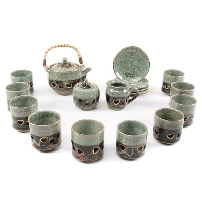 Japanese Somayaki Ware Crackle Glazed Open Work Tea Set, Mid-Late 20th Century