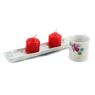 Lara Japanese Porcelain Floral Motif Tray with Miniature Cup and Candles