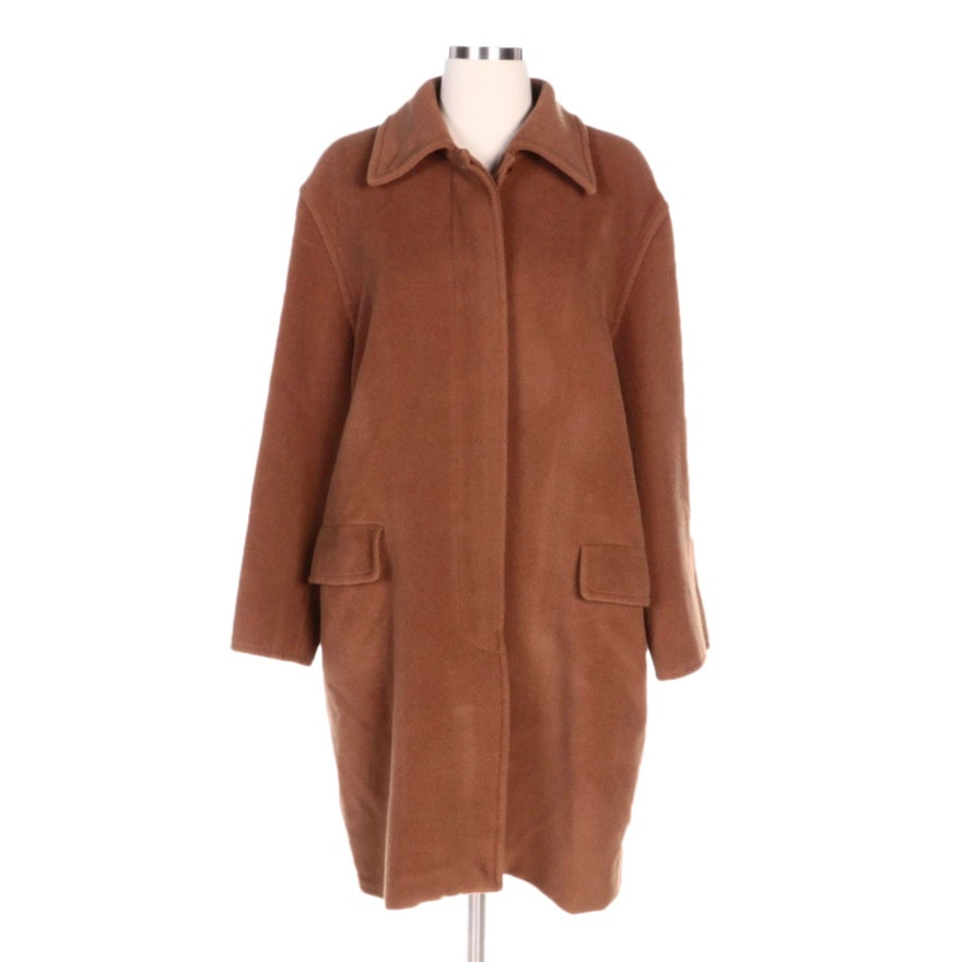 Max Mara Camel Wool and Cashmere Blend Coat