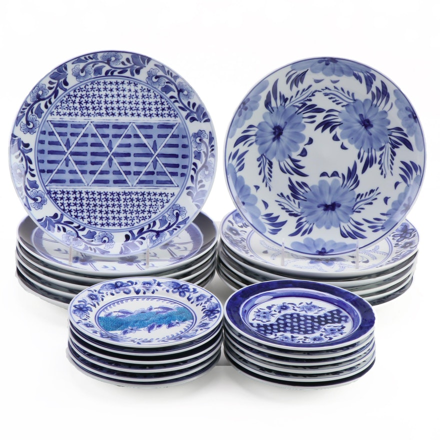 Artisan Crafted Blue and White Porcelain Plates, Contemporary