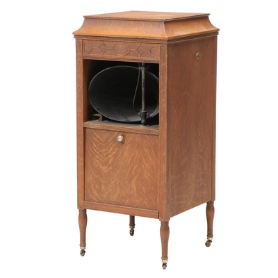 Thomas A. Edison Oak Disc Phonograph Floor Cabinet, Model C-150
