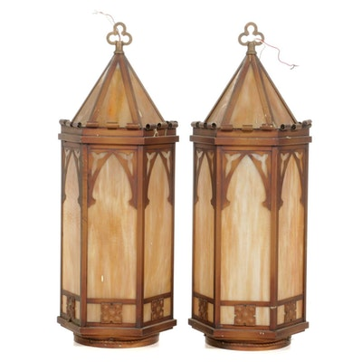 Copper Plate and Slag Glass Vestibule Pendant Lights, Early/Mid 20th Century