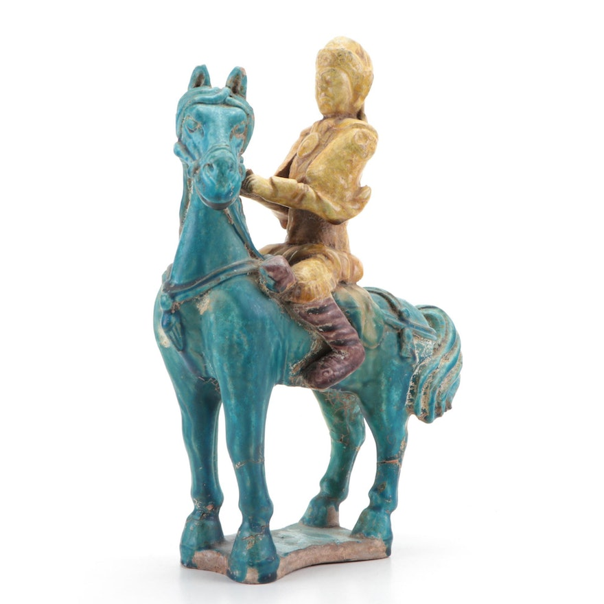 Chinese Ming Dynasty Style Glazed Ceramic Horse and Rider Figurine