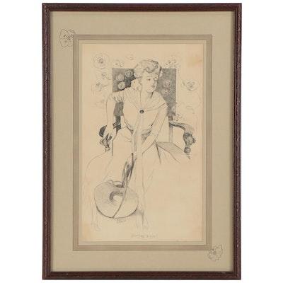 """Barton Lewis Ink Drawing """"Spring Time,"""" 1903"""
