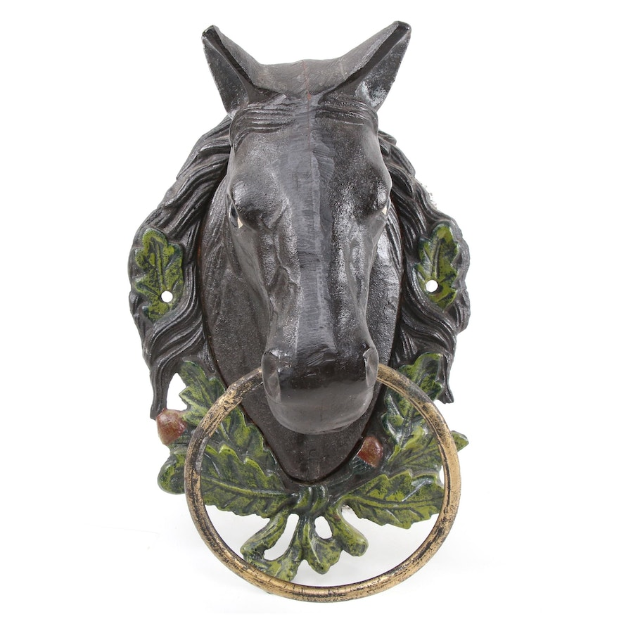 Cast Iron Polychrome Horse Head Wall Mount Hitching Post with Ring