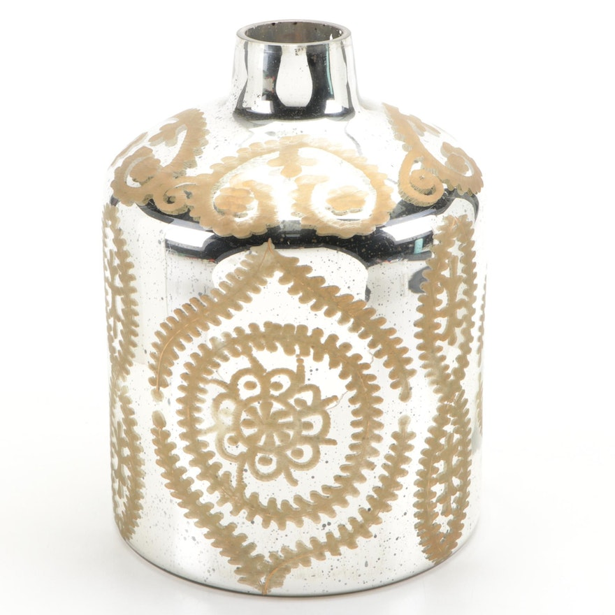 Nicole Miller Home Hand-Painted Mirrored Vase