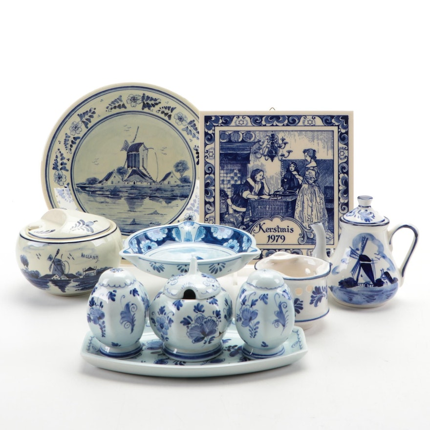 Delft Holland Hand-Painted Ceramic Tableware and Table Accessories