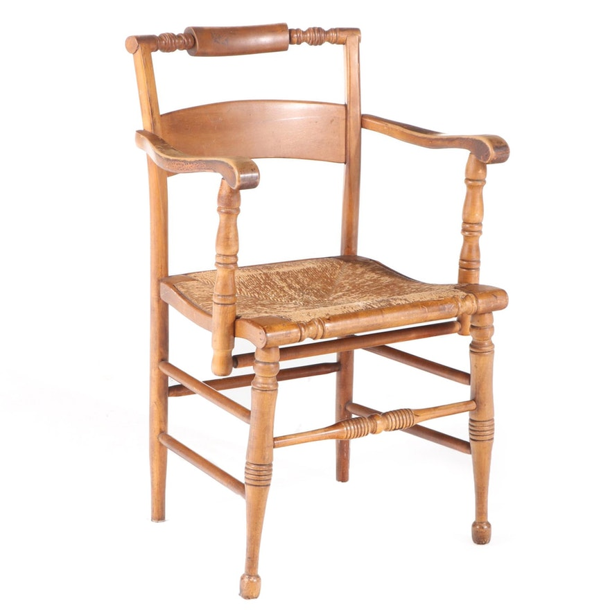 Federal Style Maple Caned Seat Armchair, 20th Century