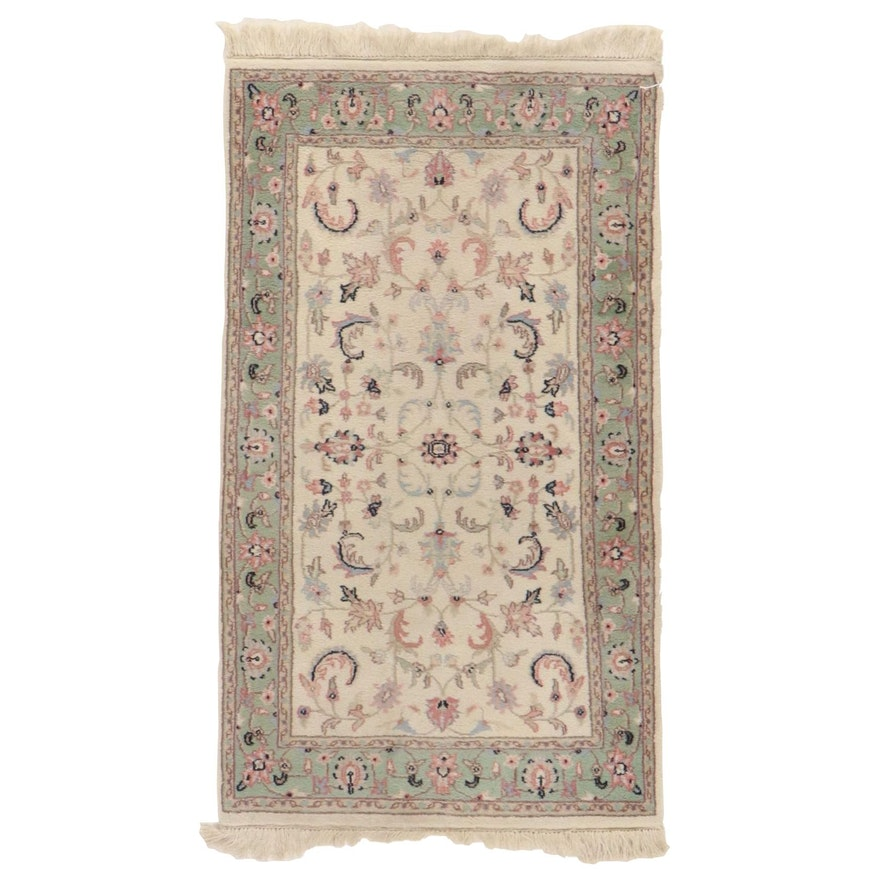 2'9 x 5'5 Hand-Knotted Indo-Persian Kashan Floral Area Rug