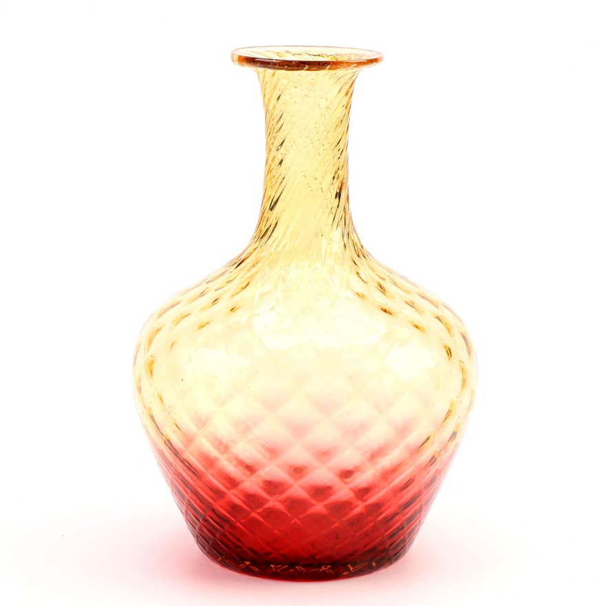 Quilted Amberina Glass Vase, Mid-20th Century