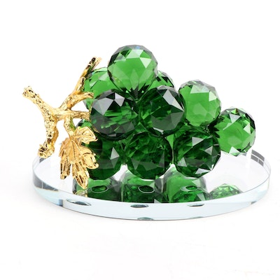 Green Crystal Grape Cluster on Oval Mirror Base