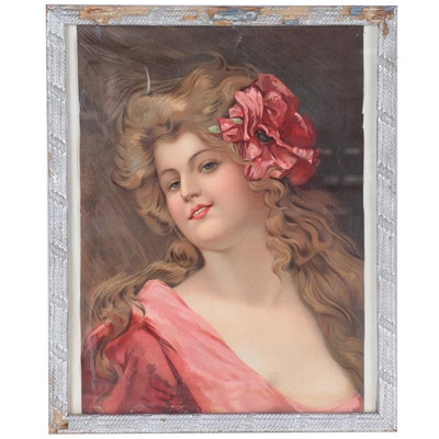 Chromolithograph Portrait of Young Woman with Flowers in Hair
