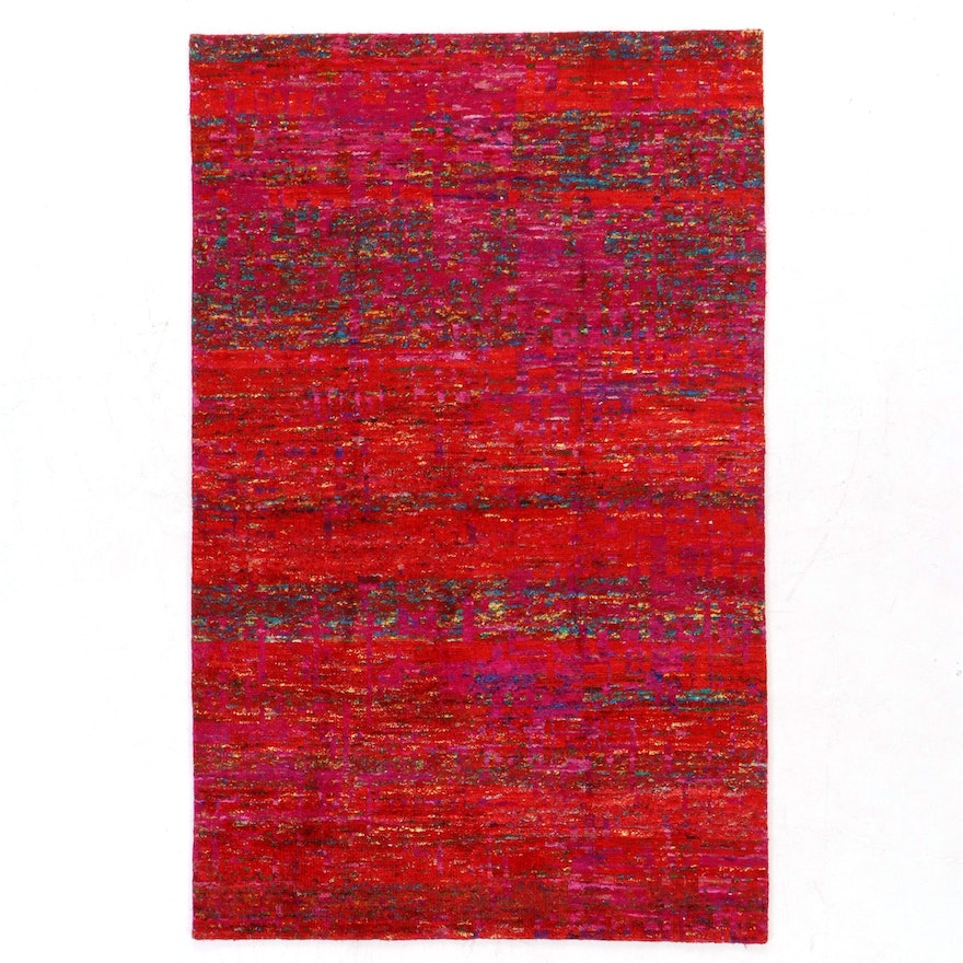 5' x 8' Hand-Knotted Indian Sari Silk Rug, 2010s