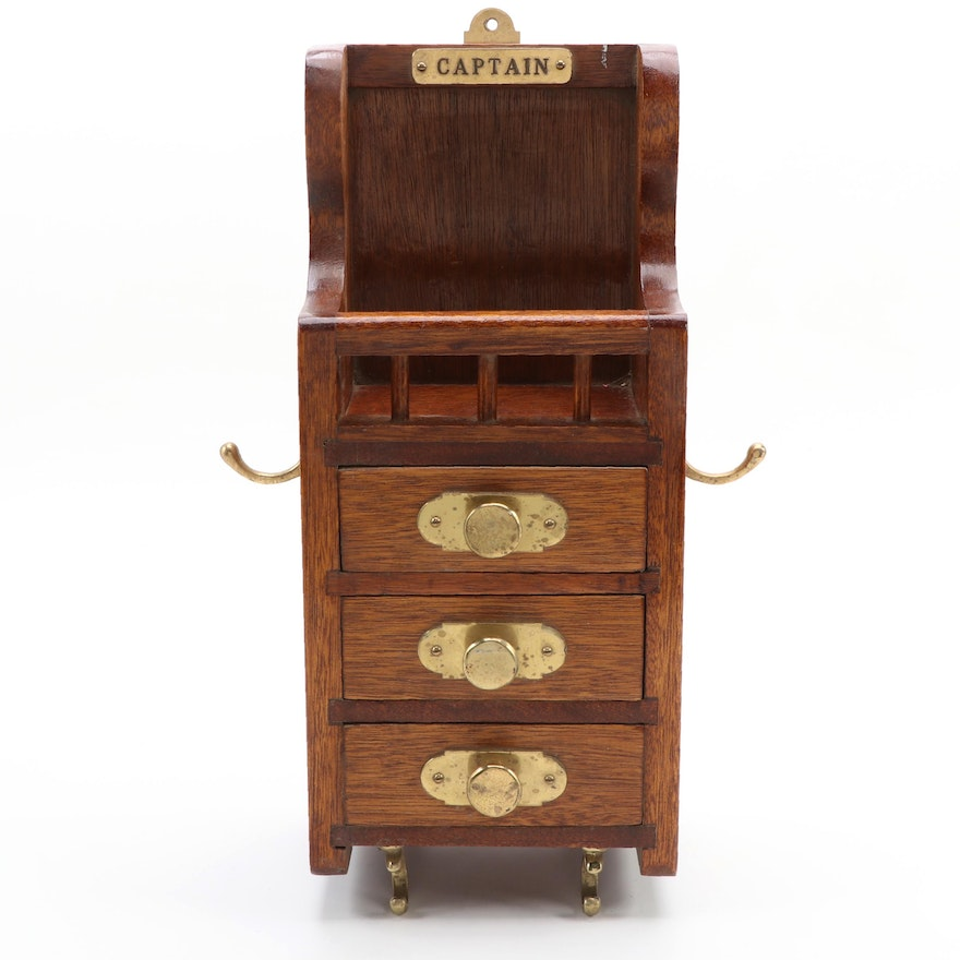 Oak and Brass Three-Drawer Captain's Vanity Wall Cabinet, 20th Century