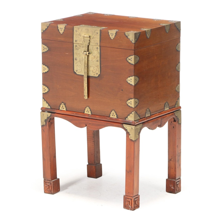 Small Chinese Brass-Mounted Chest-on-Stand