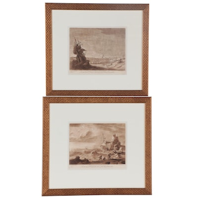 Richard Earlom Etchings after Claude Lorrain Drawings of Nautical Scenes