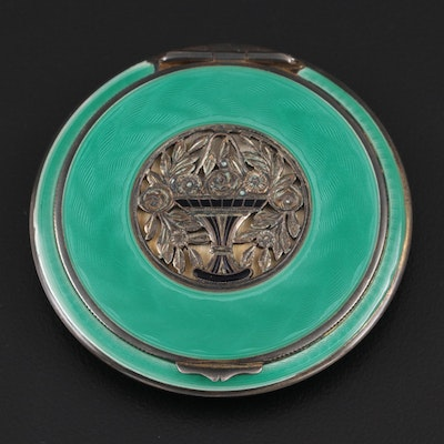 Sterling Silver and Guilloché Enamel Mirrored Compact