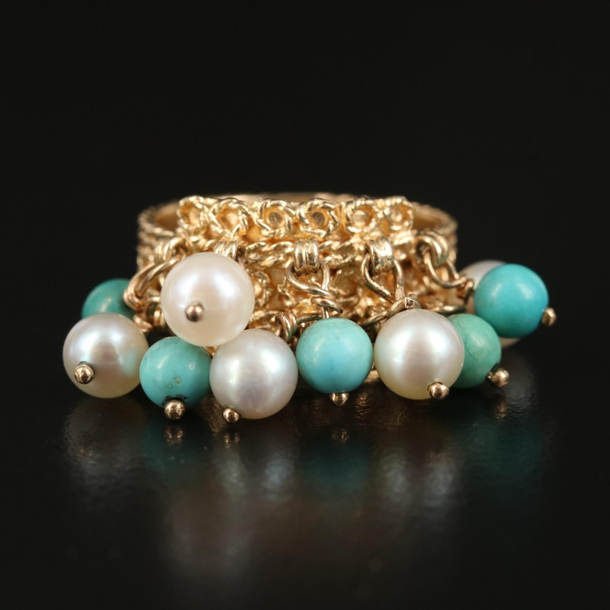 Vintage Cellino 14K Turquoise and Pearl Ring