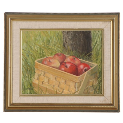 Still Life Oil Painting of Apples in Basket