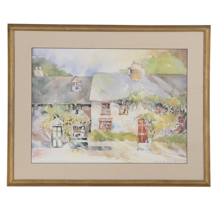 """Offset Lithograph after S. E. Routledge """"Summer on Honeybrook Lane"""""""