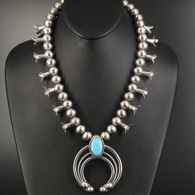 L. Kerlie Navajo Diné Sterling Turquoise Squash Blossom Necklace