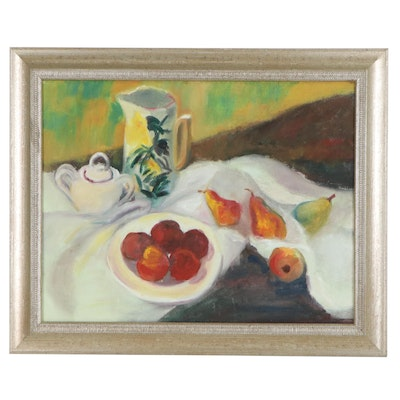 Impressionist Style Oil Painting of Still Life with Fruit and Pitcher