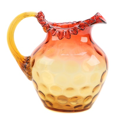 Amberina Thumbprint Ruffled Glass Pitcher, Mid-20th Century